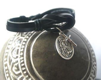 Archangel Michael Leather bracelet.  Saint Michael bracelet St Michael / Strength Courage Protection Male confirmation gift / Mens bracelet