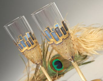 Champagne Glasses, Peacock Glasses, Champagne Flute, Wedding Glasses, Gold Teal Glasses, Hand painted Set of 2