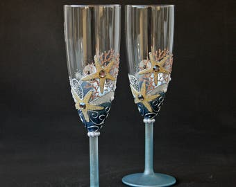 Beach Wedding Glasses Champagne Glasses Toasting Flute Hand Painted Set of 2