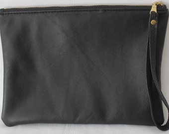 Black leather clutch bag, Upcycled leather clutch bag, Wristlet bag
