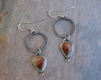 Hoop Dangle Earrings with Carasite and Citrine, Handmade, Engraved, Piercework
