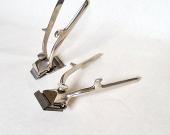 1930s Chrome beard trimming shavers / 30s silver metal hair clippers - antique barbers