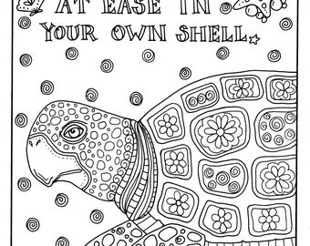 Instant download coloring page Adult coloring pages digital Sea turtles Art