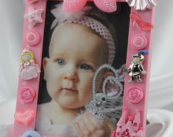 Children's Pink Princess Button Picture Frame, Birthday,Baby, Children, All Occasion Gift