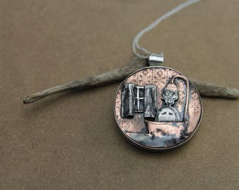"""Lady jewellery, lady necklace, sculptural jewellery,  artisan silver necklace """"Old Lady likes bath"""",story jewellery, bath lover gift"""