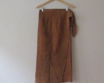 Vintage '80s/'90s Ralph Lauren Suede Maxi Wrap Skirt, US Sz 8