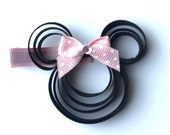 Magical Mouse Head Hair Clip with Hot Pink Swiss Dot Bow - Inspired by Minnie Mouse - Partially Lined Alligator Clip