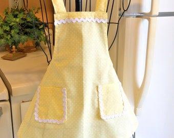 Little Girl's Yellow Polka Dot Apron