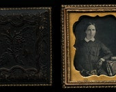 1850s 1/6 Tinted Daguerreotype - Woman Holding Hand Colored Book - Victorian Era