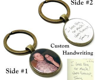 Personalized Handwriting Keychain. Create Your Own Custom Photo And Signature Keychain. Double Sided Handwriting Keyring. Mother's Day Gifts