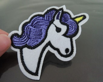Iron on Patch - Unicorn Patch Purple White Horse Horn Patch Iron on Applique Embroidered Patch Sewing Patch