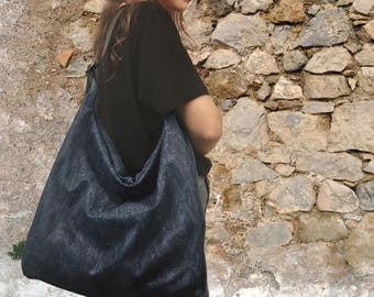 Handmade canvas-leather shoulder bag,everyday bag,named PENELOPE