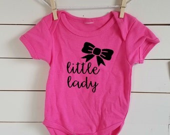 Little Lady Bow Onesie. Funny Baby Onesie. Free Shipping! Creeper. Baby Shower Gift. Chubby Baby Shirt. Pink. Little Lady. Bows before Bros.