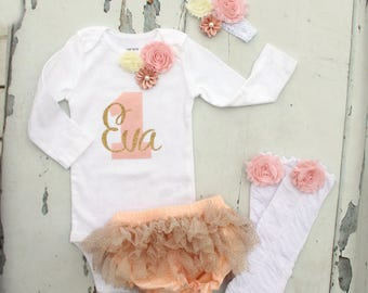Baby Girl 1st Birthday Outfit Cake Smash Set to 4 Items 1 & Personalized Name Floral Bodysuit, Bloomers Diaper Cover, Leg Warmers, Headband
