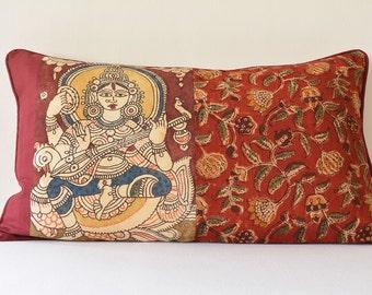 Indian Goddess Hand Painted Kalamkari Cushion Cover, Hand Painted Kalamkari Pillow , Indian Goddess Saraswati Decorative Pillow Cover