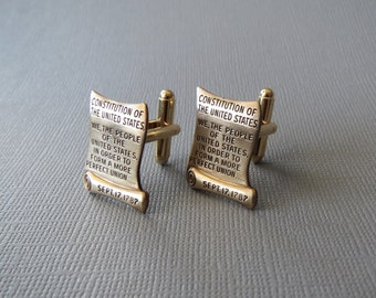 Constitution of the United States Cufflinks -- Lawyer Judge Cuff Links Grad Gift Brass Cufflinks