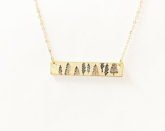 Forest Necklace // 14kt Gold Necklace // Nature Lover Necklace // Engraved Necklace // Hiker/Camper Jewelry // Inner Peace // Strength