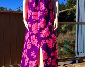 Vintage Pink & Purple HAWAIIAN HALTER SunDress  S M