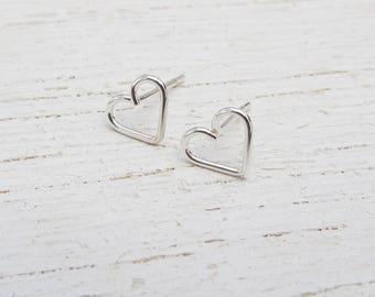 Argentium Silver Heart Stud Earrings / Eco-Friendly Stud Earrings / Heart Sterling Silver Studs / Silver Earrings / Post Earrings / 105039