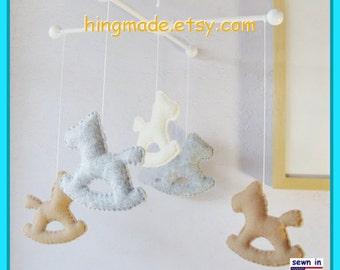 Baby Mobile, Baby Crib Mobile, Rocking Pony Mobile,Nursery Decor, Modern Mobile, Gray Tan Ivory theme, Custom Mobile