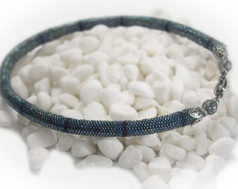 Choker Beaded Choker Beaded Necklace Handmade Tubular Peyote Necklace Choker Beadwoven Beadwork Necklace - 13196