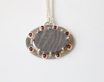 Damascus Steel and Garnet Necklace //  Metallic Statement Necklace // Chunky Necklace / Grey and Red Metallic Pendant / Steel Necklace
