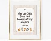 Christian Bible Verse Digital Nursery Art Print, Woodland Animals Art Print, Baby Shower, Wall Art, DIY Printable, INSTANT DOWNLOAD