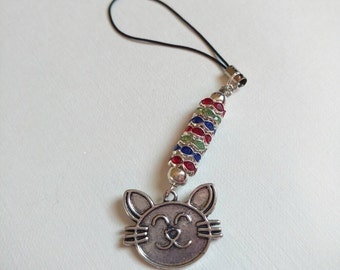 Cat charm, phonecharm, keychain, sparkling beads, silver plated crystal spacer beads
