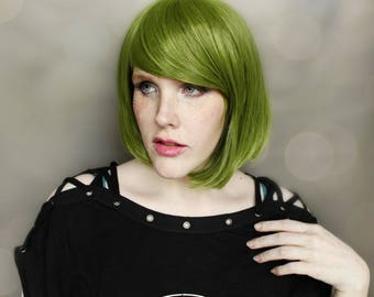 SALE Short Green wig | Green Bob wig, Woodsy Forest Fairy Costume wig | Moss + Mist