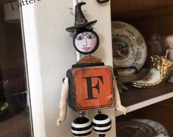 Halloween Witch Ornament - Mixed Media Doll Ornament