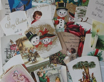 Lot of Vintage Christmas Card Cuttings Lot of Vintage Christmas Card Images Lot of Vintage Christmas Card Cut Outs Vintage Christmas Cards