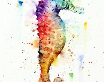 SEA HORSE Watercolor Print by Dean Crouser