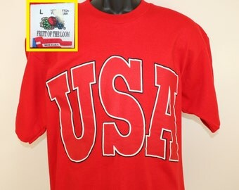 USA United States of America vintage t-shirt Large red 80s 90s Fruit of the Loom 100% cotton