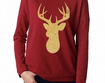 Gold glitter deer head-women's scarlett red long sleeve tee