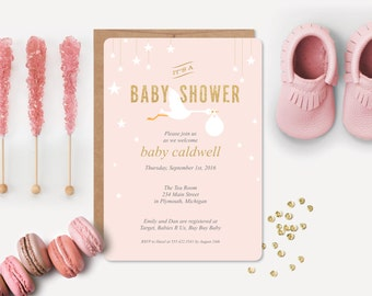 12 Baby Shower Invitations and 12 Envelopes // Pink Stork