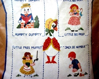 MOTHER GOOSE Bucilla Pillow Crewel KIT 3535 Vintage 1970s Sealed in Package Humpty Dumpty Little Bo Peep Little Miss Muffet Jack Be Nimble