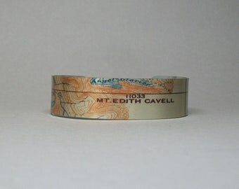 Mount Edith Cavell Jasper National Park Canadian Rockies Map Cuff Bracelet Narrow Unique Gift for Men or Women