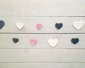 Reclaimed Wool Felt Heart Garland, Pink, Gray, Cream
