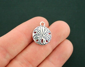 4 Sand Dollar Charms Antique Silver Tone - SC6703