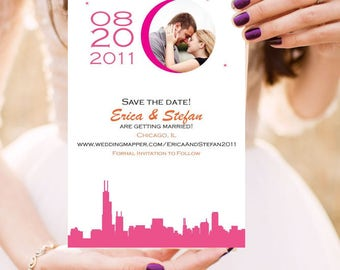 Wedding Save the Date or Invitation - The City Stars Align