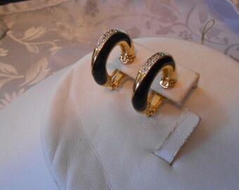 Elegant black enamel and crystal hoop clip-on vintage earrings, retro jewelry, black tie affair, designer quality