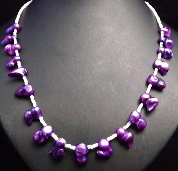 Freshwater Pearl Necklace,semi precious jewellery,Purple Pearl Necklace, Wedding Jewellery, prom Jewellery, anniversary gift