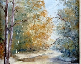 Autumn Woodland Landscape Oil Painting Vintage Traditional Home Decor Professionally Framed Wall Art D Reatherford Original Artist 1980