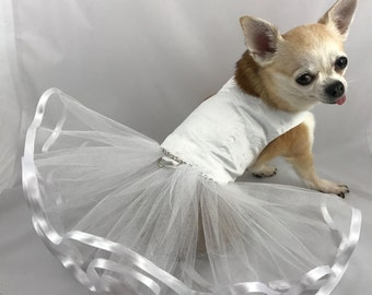 Snow White Princess Bride, Christmas dog dress, bridesmaid, flowergirl dog dress, custom wedding dress, elegant dainty dog dress, affordable