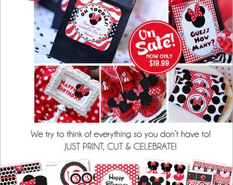 Minnie Mouse Birthday Decorations | Red Minnie Mouse Party | Minnie Mouse Birthday Party Decorations Printable | Amanda's Parties To Go