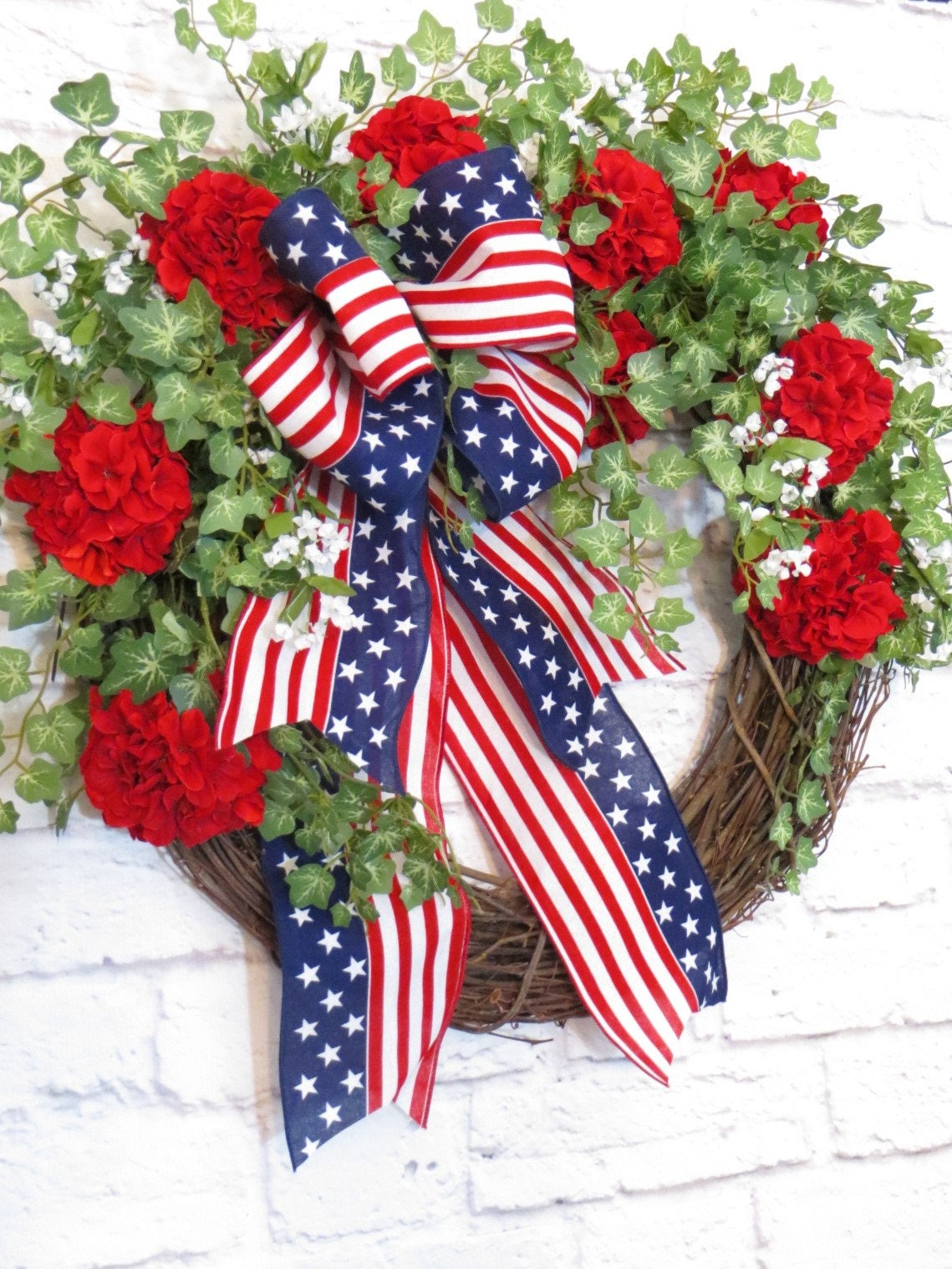Patriotic Wreath Memorial Day Wreath Red White And Blue
