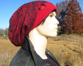 Oversized Big Dreadlock Slouch Tam Hat Red & Gray Thick Warm Winter Fair Isle Knit Cotton Extra Long Baggy Slouchy Beanies   A1677