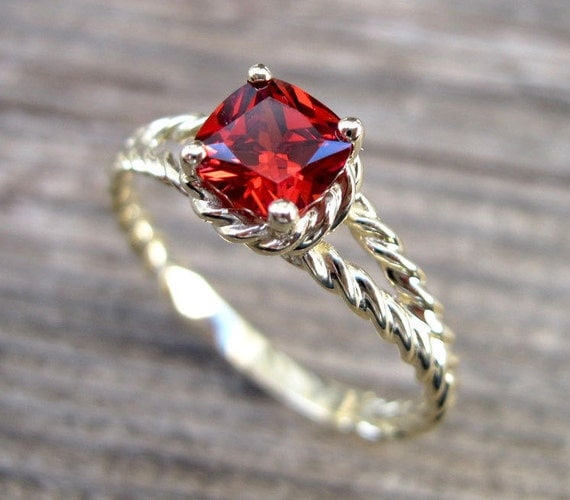 Ruby Engagement Ring Cushion Ruby Braided Rope Engagement