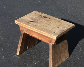 Vintage Milk Stool Wood Wooden Handmade Hand Crafted Primitive Rustic Distressed Farmhouse French Country Cottage Shabby Decor