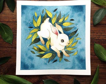 Original Painting Rabbit in Foliage Watercolor Painting by Michelle Kent